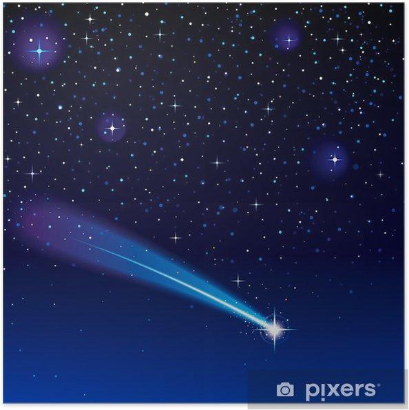 Poster étoile Filante Passe à Travers Un Ciel étoilé