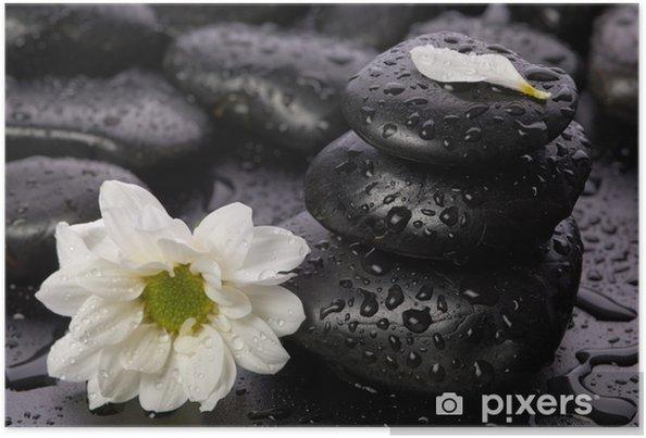 Poster Evenwichtige stenen en bloem - Thema's