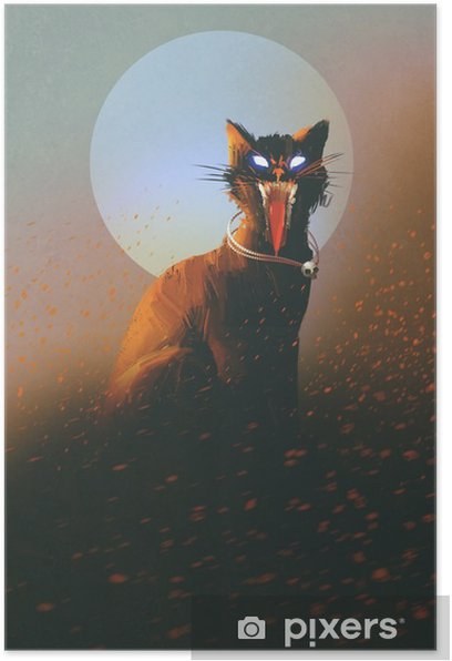 evil cat on a background of the moon,undead,horror concept,illustration Poster - Hobbies and Leisure