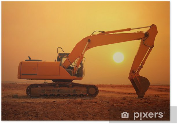 excavator loader machine during earthmoving works outdoors Poster - Heavy Industry