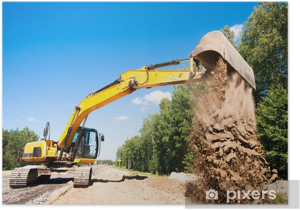 Excavator unloading sand during road construction works Poster - Heavy Industry