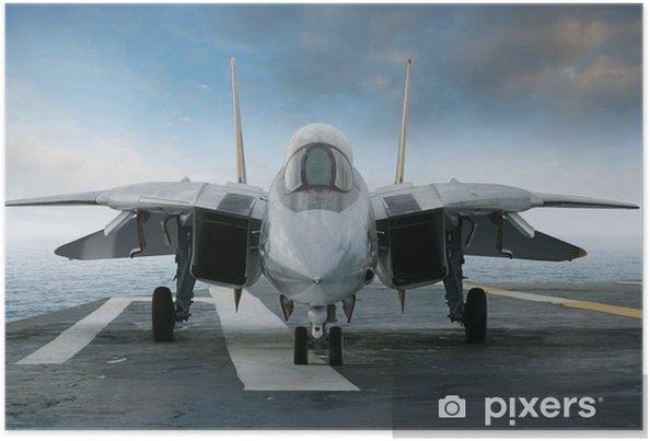 Poster F-14 straaljager op een vliegdekschip dek van voren gezien - Thema's