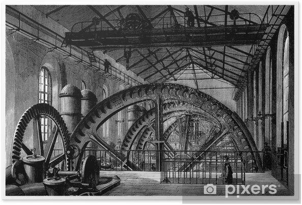 Poster Fabriek 19e eeuw: Hydraulische Factory Wiel - Roue - Machines