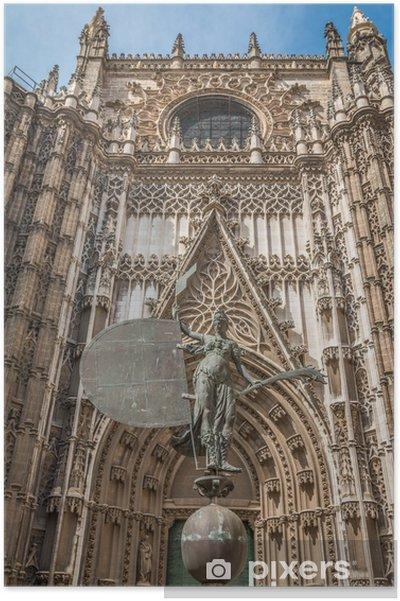 Poster Façade de la cathédrale de Séville, en Espagne - Bâtiments publics