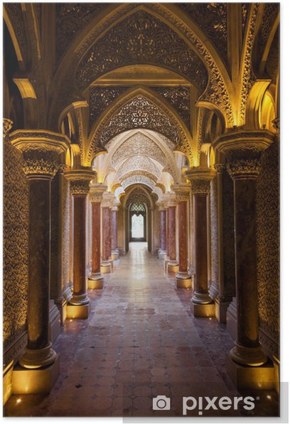 Fairytale corridor of Monserrate Palace in Sintra town, Portugal Poster - Themes