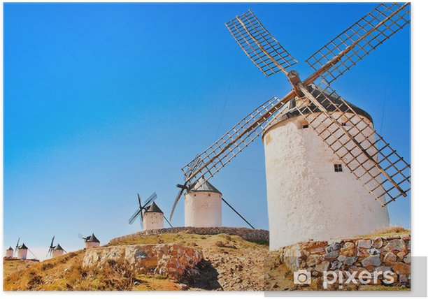Famous windmills in Consuegra at sunset, Andalusia, Spain Poster - Europe