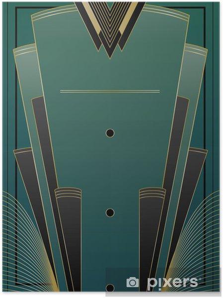 Poster Fans Art Deco Achtergrond - Achtergrond