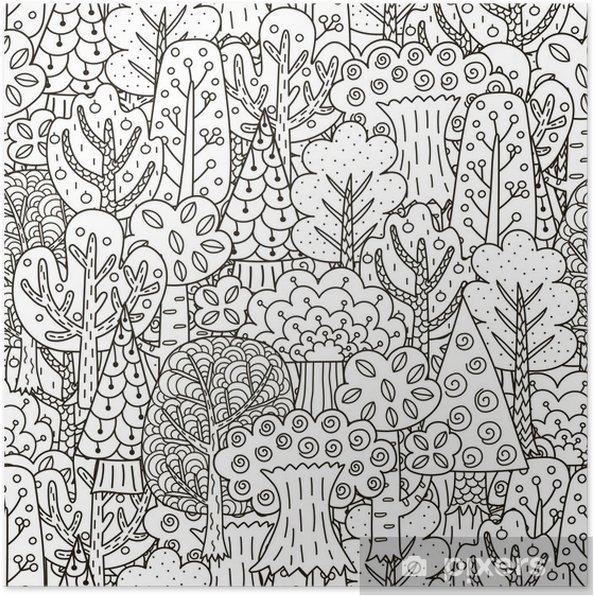 Poster Fantasie bos naadloos patroon. Zwarte en witte bomen achtergrond - Grafische Bronnen