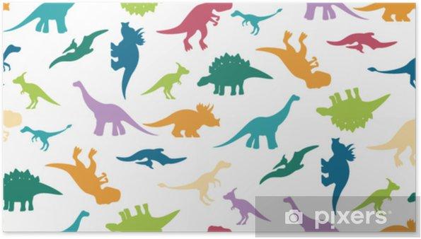 Poster Färgstarkt dinosauramönster på vitt - Grafiska resurser