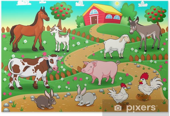 Farm animals with background. Vector illustration Poster - Birds