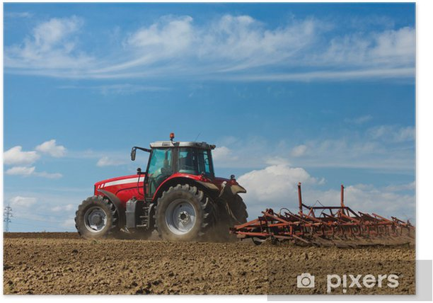 Farmer plowing the field. Tractor and Plow Poster - Agriculture