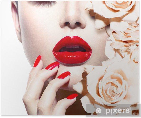 Poster Fashion Sexy vrouw met bloemen. Vogue Style Model - Mode