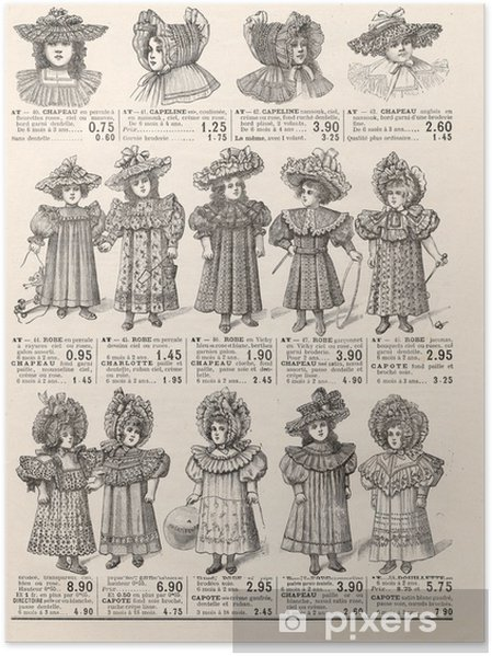 Vintage Kleding.Poster Fashion Voor Kleine Victoriaanse Meisjes Vintage Kleding