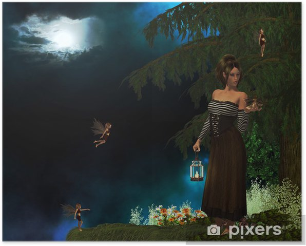 Poster Fée perdu - Animaux imaginaires