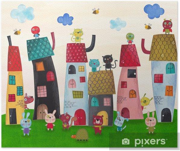 Poster Fée ville de fées. Aquarelles sur papier - Animaux
