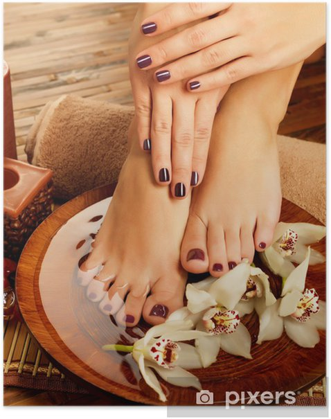Female Feet At Spa Salon On Pedicure Procedure Poster