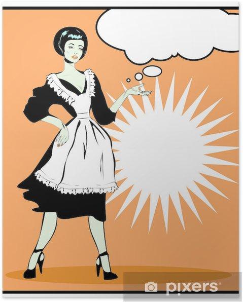 Poster Femme au foyer utiles - Rétro Clip Art dans le style vintage popart - Au travail