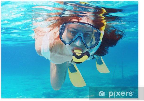 Poster Femme avec le masque plongée en apnée - Vacances