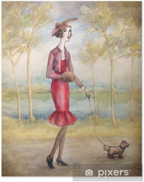 Poster Femme en robe avec un chien - Art et création