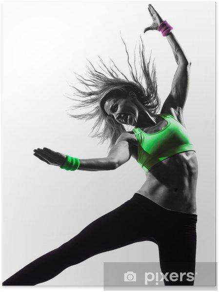 Poster Femme exerçant Zumba Fitness silhouette de danse - Art et création