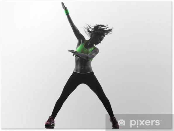 Poster Femme exerçant Zumba Fitness silhouette de danse • Pixers ... 2159a3b336d