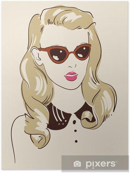 Poster Femme portant des lunettes de soleil portrait • Pixers ... e1f2f578f505