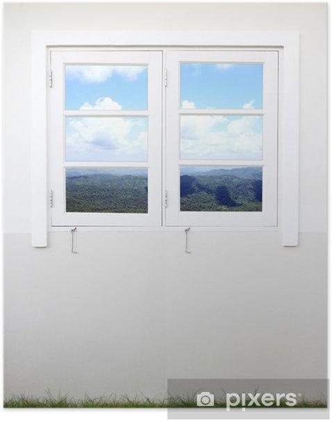 Poster Fenêtre avec vue montagne et le ciel - Thèmes