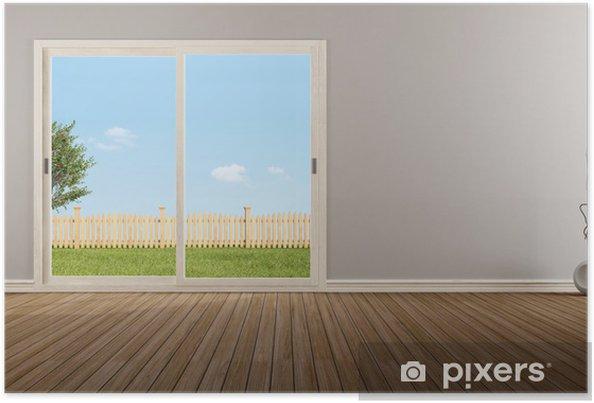 Poster Fenêtre coulissante fermée dans une chambre vide • Pixers ...