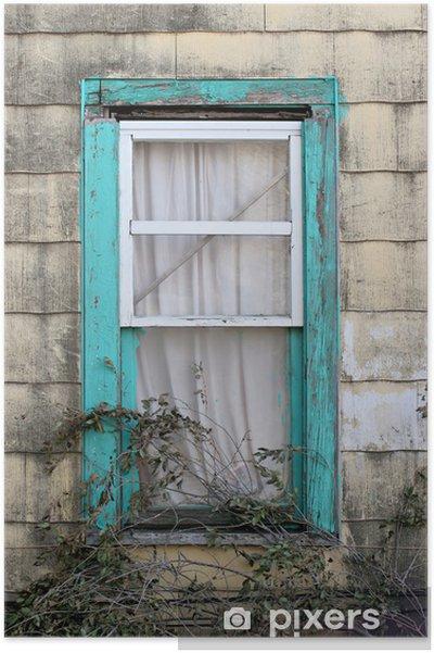 Poster Fenêtre de turquoise - Pauvreté