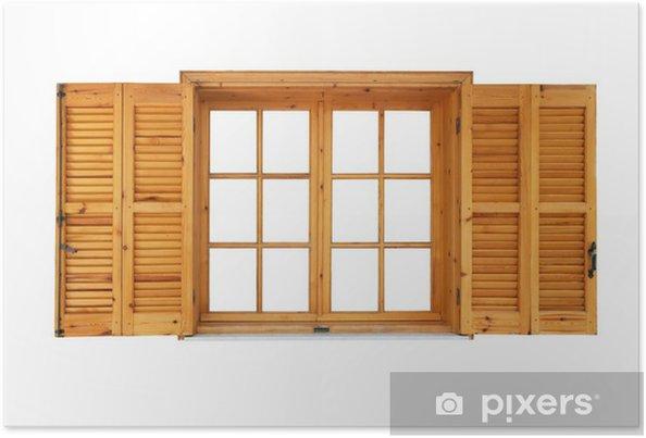 Poster Fenêtre En Bois Avec Des Volets Ouvert Côté Extérieur Isolé