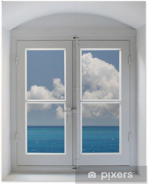 Poster Fenêtre grec - Eau