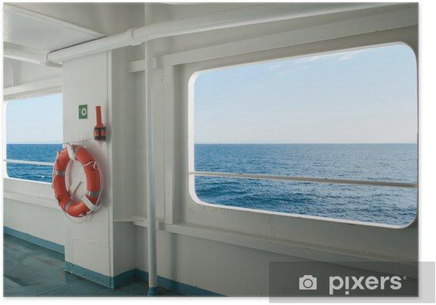 Poster Fenêtres de navire avec un paysage de détente et vue de ciel bleu. - Bateaux