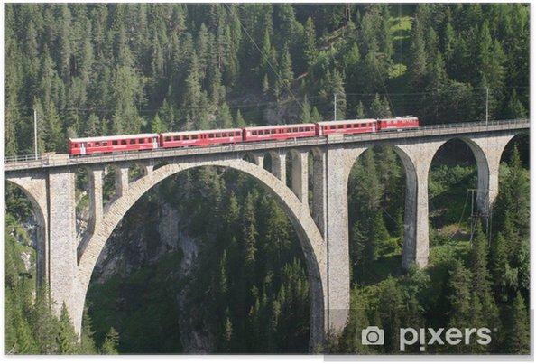 Póster Ferrocarril rético - Wiesen viaducto - Europa