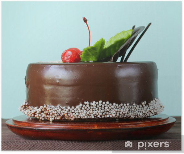 Festive Beautiful Chocolate Cake With Icing And Cherry Poster