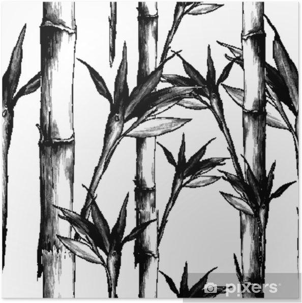 Poster Feuilles Branches Tige Motif De Bambou Fleurs Texture Cadre Croquis Sans Soudure Vecteur Graphiques Dessin Noir Et Blanc Monochrome