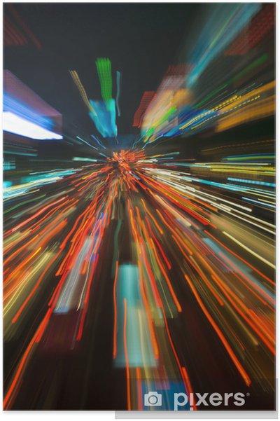 Poster Feux de circulation dans le flou de mouvement - Sur la route