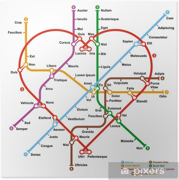 Subway Map In Heart Shape.Fictional Metro Map In Shape Of Heart Vector Illustration Poster
