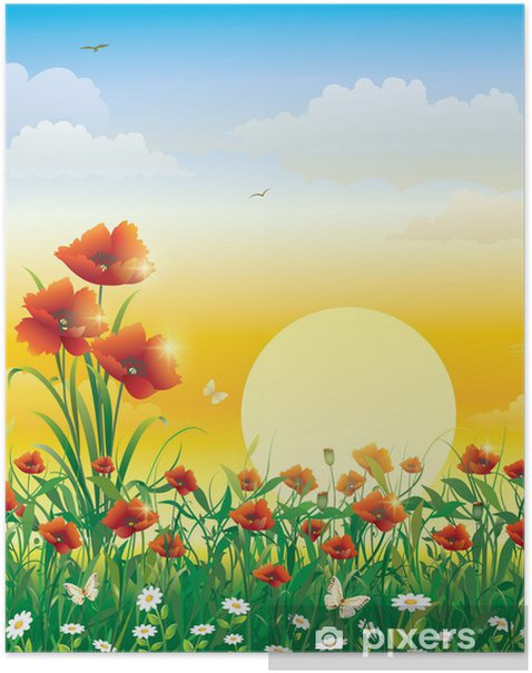 Field with flowers on a background of solar dawn Poster - Themes