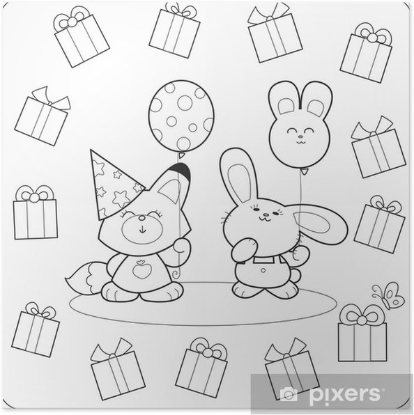 Póster Fiesta de cumpleaños para colorear con globos y regalos zorro ...