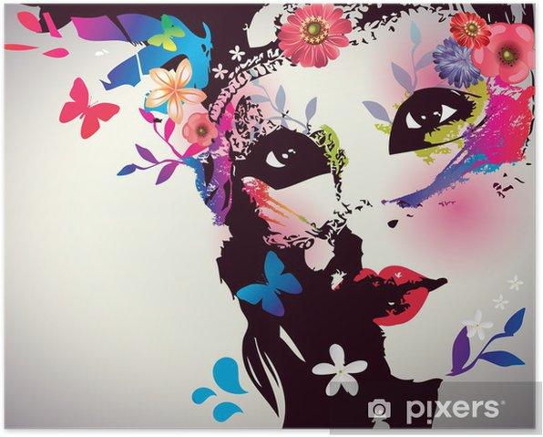 Poster Fille avec le masque / Vector illustration - Mode