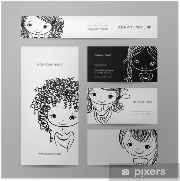 Poster Fille Souriante Un Ensemble De Cartes Visite Votre Conception