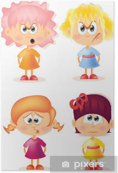 Poster Filles mignons de bande dessinée avec différentes émotions - Colère