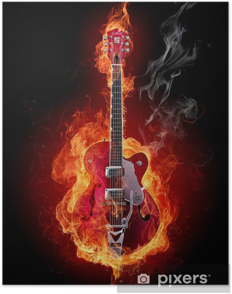 Fire guitar Poster - Styles