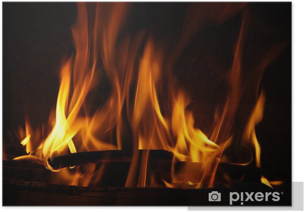 Fire in a fireplace, fire flames on a black background Poster - Themes