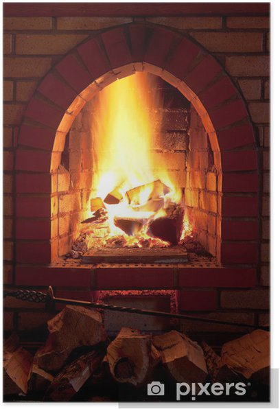 fire in fireplace Poster - Textures
