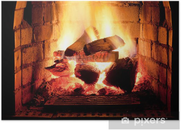 fire in fireplace Poster - Themes