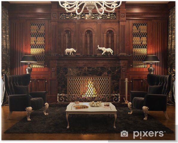 Fireplace room and a library Poster - Private Buildings
