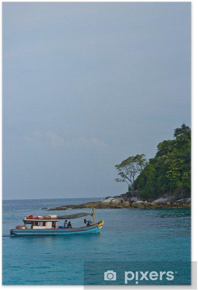 Fishing boat and fishingman Poster - Boats