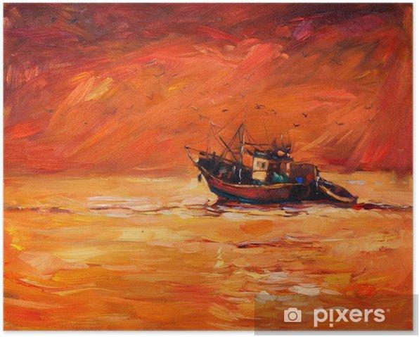Poster Fishing boat - Art et création