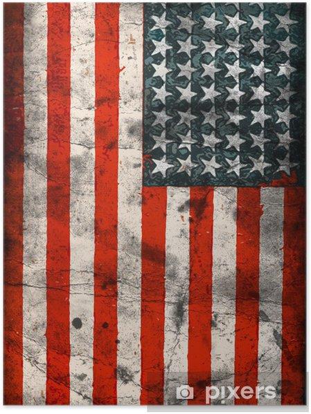 Poster Flagga USA (Amerikas förenta stater) -